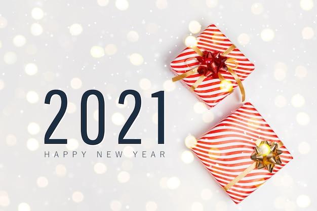 2021 happy holidays-wenskaart met handgemaakte geschenkdozen