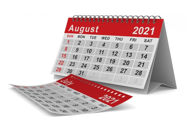 2021 jaar. kalender voor augustus. geïsoleerde 3d-afbeelding