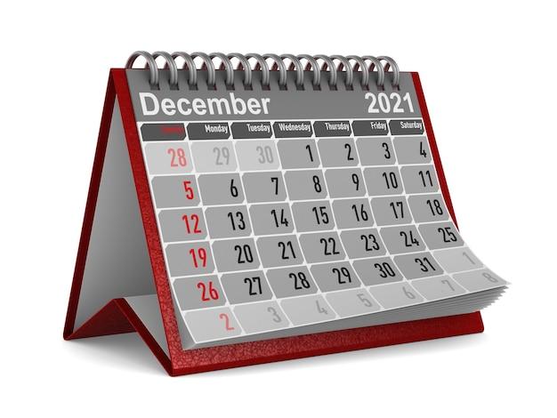 2021 jaar. kalender voor december.