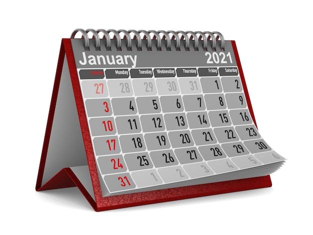 2021 jaar. kalender voor januari.