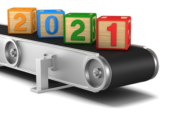 2021 jaar. transportband. geïsoleerde 3d-weergave