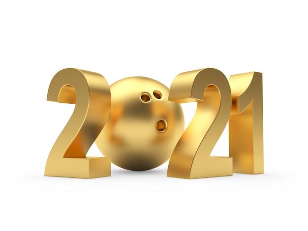2021 nieuwjaar en gouden bowlingbal