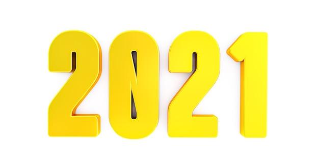 2021 nieuwjaar geïsoleerd op een witte achtergrond. glanzend gouden bord