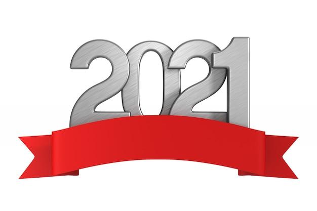 2021 nieuwjaar met rood lint. geïsoleerde 3d-weergave