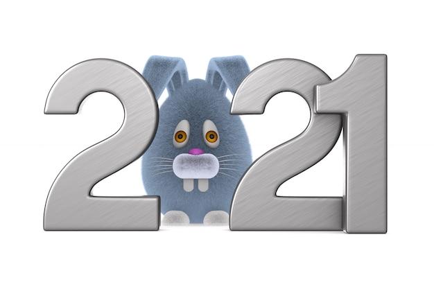 2021-nummers met konijntjeskarakter. geïsoleerde 3d-afbeelding