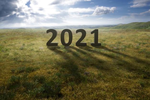 2021 op het veld met een blauwe lucht. gelukkig nieuwjaar 2021