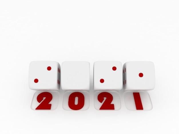 2021 prettige kerstdagen en gelukkig nieuwjaar, 3d render van witte dobbelstenen op witte achtergrond