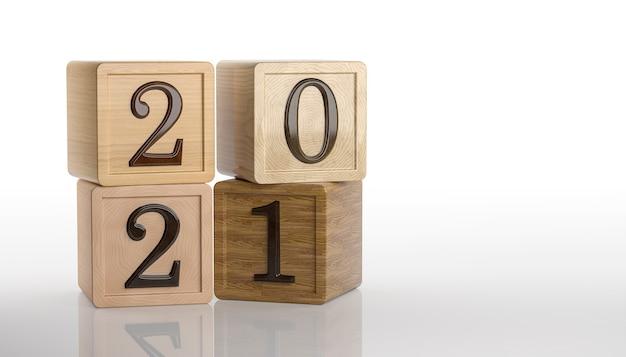 2021 tekst op houten kubussen op witte achtergrond. nieuwjaarsdatum. 3d-rendering