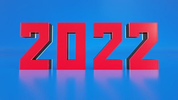 2022 inscriptie in rode letters op een blauwe achtergrond 3d-rendering