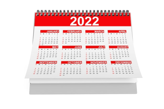 2022 jaar desktop kalender op een witte achtergrond. 3d-rendering