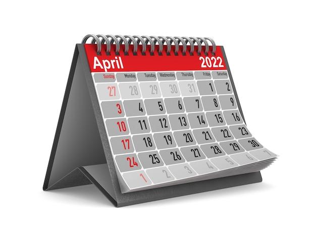 2022 jaar. kalender voor april. geïsoleerde 3d illustratie
