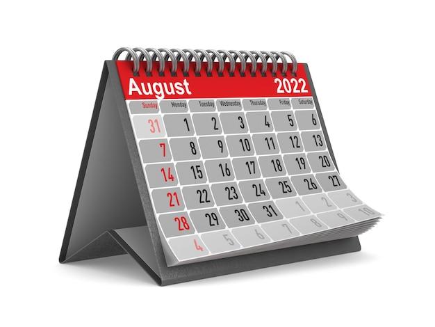 2022 jaar. kalender voor augustus. geïsoleerde 3d illustratie