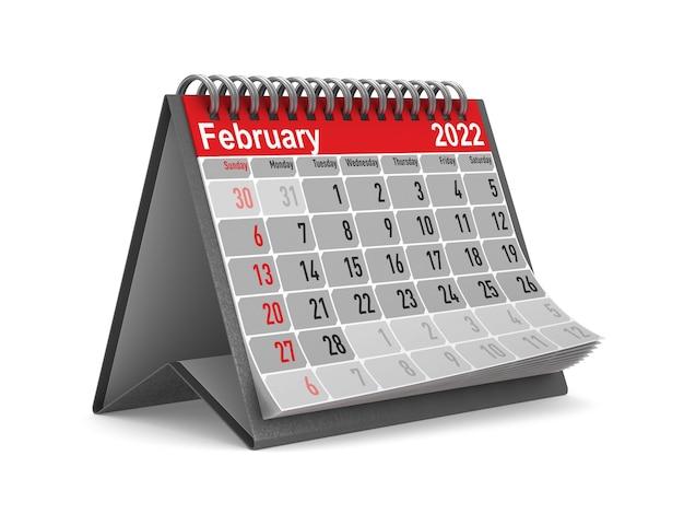2022 jaar. kalender voor februari. geïsoleerde 3d illustratie