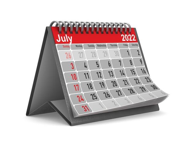 2022 jaar. kalender voor juli. geïsoleerde 3d illustratie
