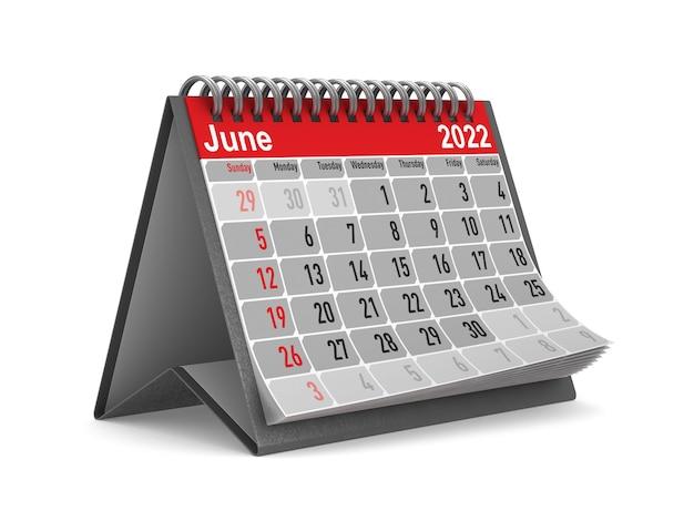2022 jaar. kalender voor juni. geïsoleerde 3d illustratie