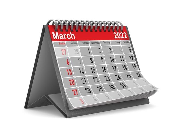 2022 jaar. kalender voor maart. geïsoleerde 3d illustratie