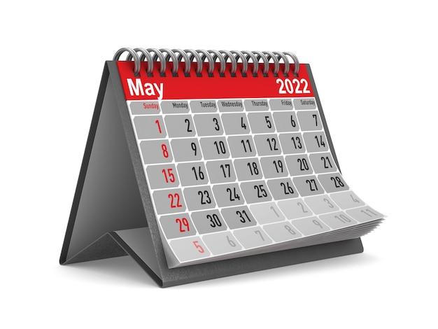 2022 jaar. kalender voor mei. geïsoleerde 3d illustratie