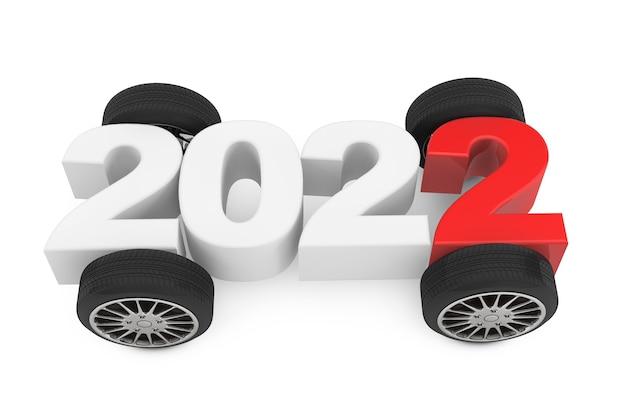 2022 jaarconcept met autowielen op een witte achtergrond. 3d-rendering