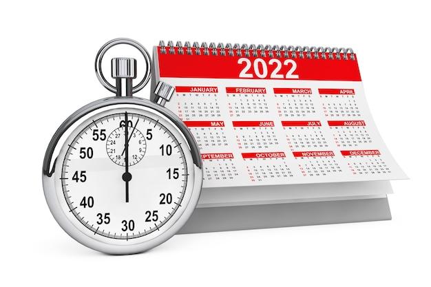 2022 jaarkalender met stopwatch op een witte achtergrond. 3d-rendering