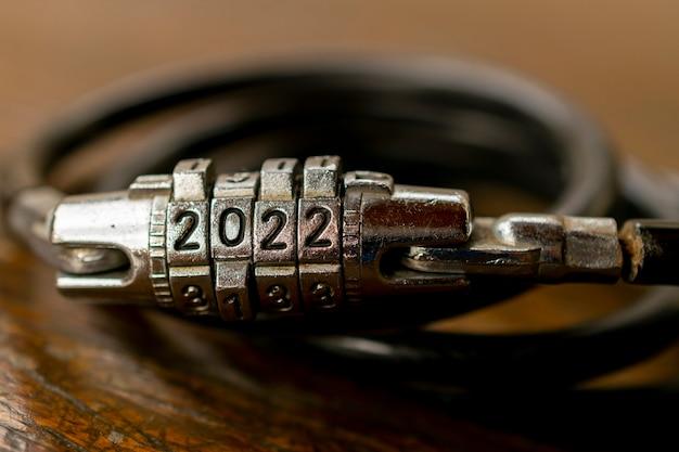 2022 nieuwjaar geheim hangslot met het nummer 2022