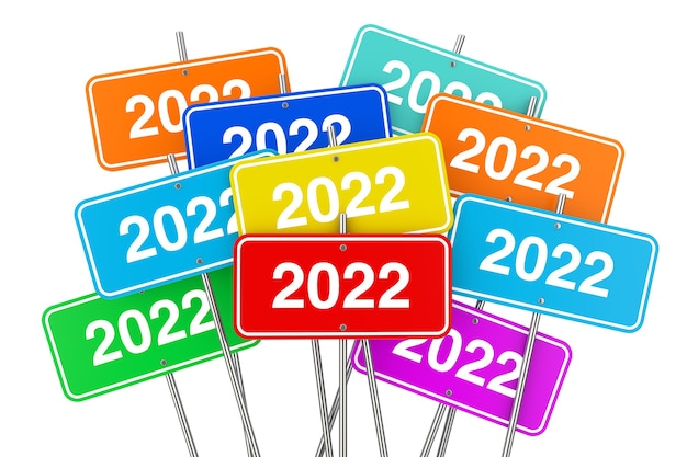 2022 nieuwjaar kleur tekenen op een witte achtergrond. 3d-rendering
