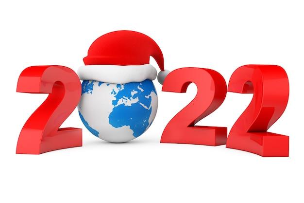 2022 nieuwjaarsconcept. kerstmuts over earth globe op een witte achtergrond. 3d-rendering