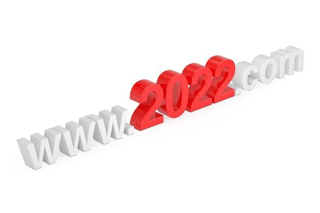 2022 nieuwjaarsconcept. www 2021 com-sitenaam op een witte achtergrond. 3d-rendering