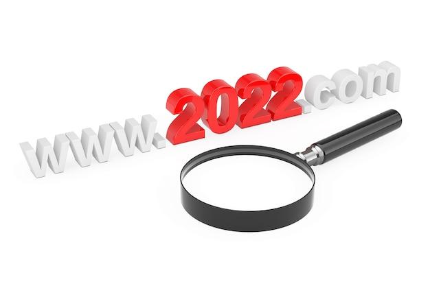 2022 nieuwjaarsconcept. www 2022 com-sitenaam met vergrootglas op een witte achtergrond. 3d-rendering