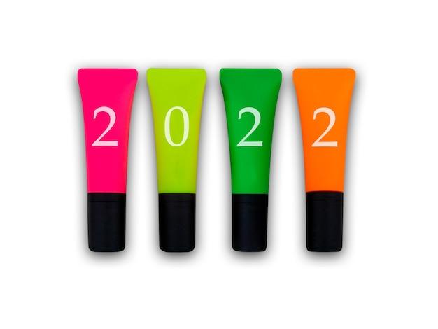 2022neon markeerstift in roze geel groen en oranje