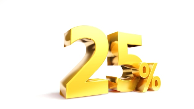 25% gouden symbool, 3d render