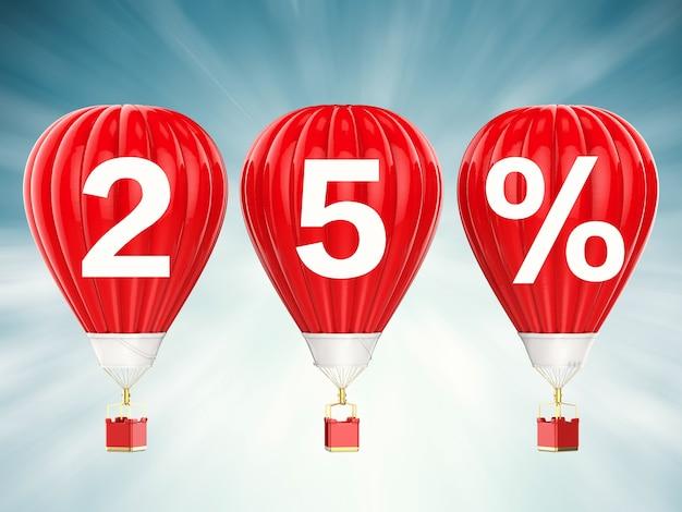 25% verkoop teken op 3d-rendering rode hete lucht ballonnen