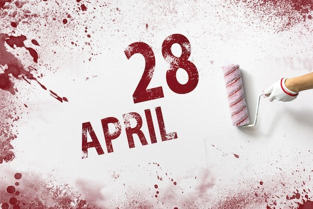 28 april. dag 28 van de maand, kalenderdatum. de hand houdt een roller met rode verf vast en schrijft een kalenderdatum op een witte achtergrond. lente maand, dag van het jaar concept.