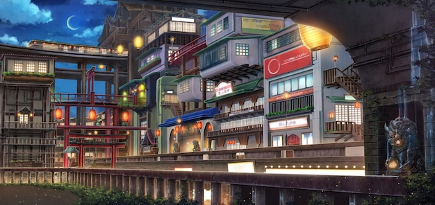 2d-afbeelding van fantasy old town in the nighttime.