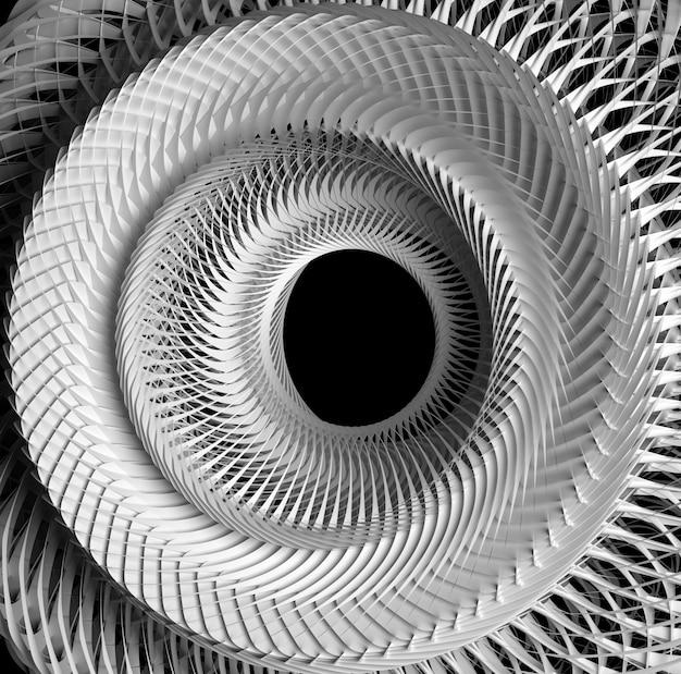 3 maken van abstracte zwart-witte zwart-wit surrealistische mechanische industriële 3d turbine terug