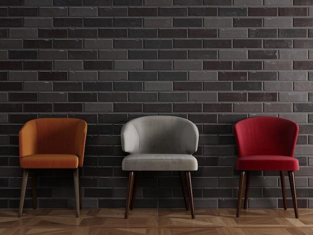 3 verschillende stoelen in moderne stijl die zich voor zwarte bakstenen muur bevinden met copyspace
