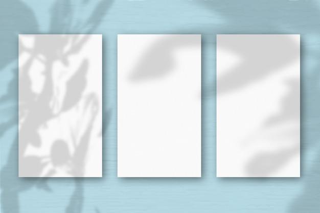 3 verticale vellen getextureerd wit papier op zachte blauwgroene tafelachtergrond. mockup met een overlay van plantschaduwen. natuurlijk licht werpt schaduwen van de boom van geluk. horizontale oriëntatie.