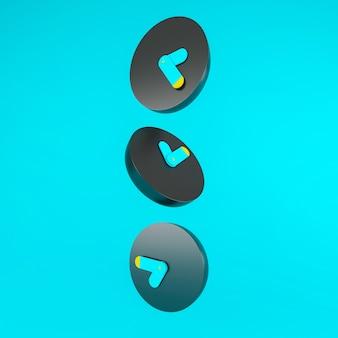 3 zwart en blauw en geel wekkerpictogram op blauwe achtergrond vallen, tijd concept, minimale samenstelling, stijlvolle abstracte fractal spiraal klok wijzerplaat tijd spiraal. 3d illustratie.