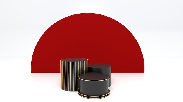 3 zwart podium, witte ruimte, rode achtergronden om nieuwjaar te vieren