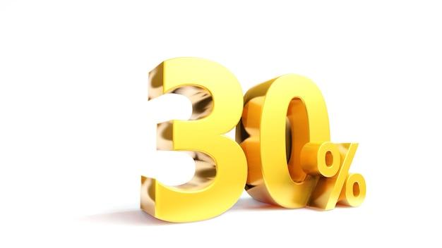 30% gouden symbool, 3d render