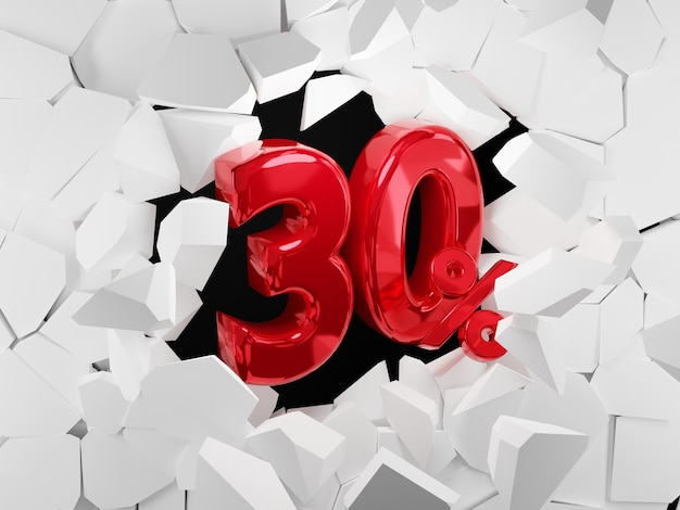 30 procent verkoop zwarte vrijdag idee in 3d-rendering