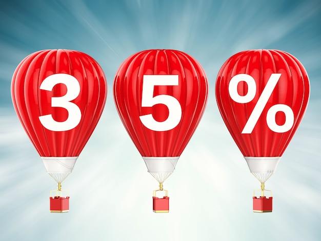 35% verkoop teken op 3d-rendering rode hete lucht ballonnen