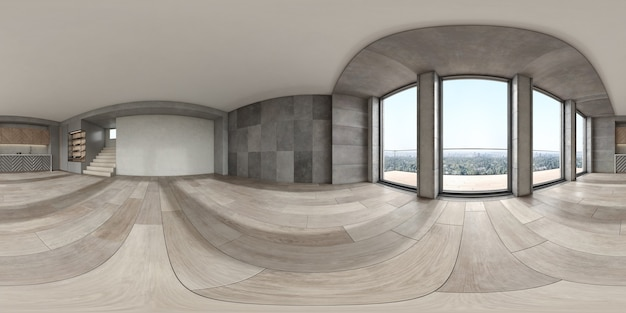 360 panorama van lege moderne binnenruimte 3d-rendering