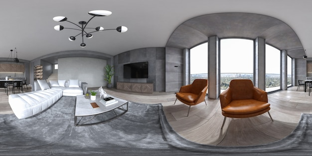 360 panorana minimalistisch interieur van moderne woonkamer 3d-rendering