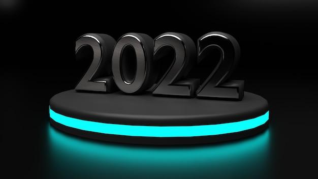 3d 2022 met neon gerenderd podium