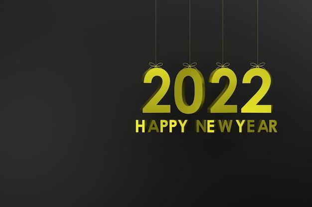 3d. 2022 opknoping met een touw concept gelukkig nieuwjaar en kerstmis. rode zwarte grond