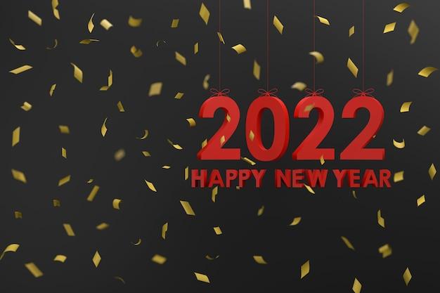 3d. 2022 opknoping met een touw concept gelukkig nieuwjaar en kerstmis.