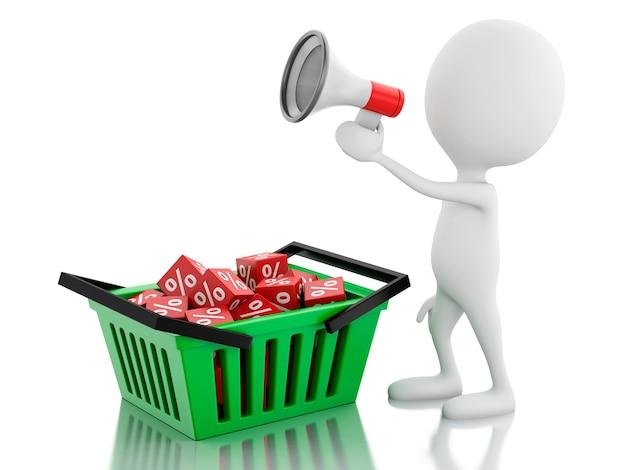 3d aankondiging van de mensenverkoop met megafoon en het winkelen mand.