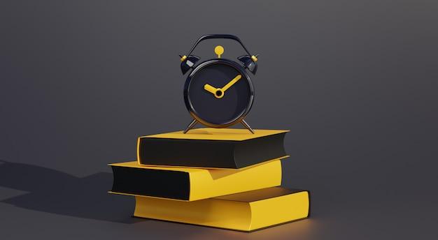 3d abstract alarm boven boeken op zwart