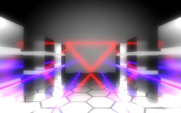 3d abstract buitenaards datacenter met neonlicht. 3d illustratie