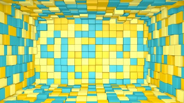 3d abstract geel en blauw interieur gemaakt met kubussen achtergrond